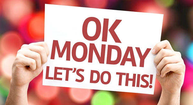 Ok Monday Let's Do This! card with colorful background with defo